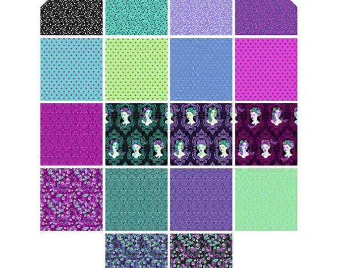 "FACTORY CUT ! De La Luna 10"" Charm Pack Cotton Woven by Tula Pink for Free Spirit Fabrics"