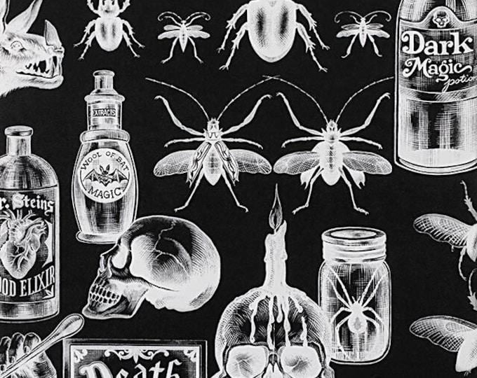 Alexander Henry Fabric - Dark Magic - Black/White Dark Magic #8737C Cotton Woven Fabric