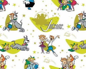Camelot Fabric - The Jetsons - Family Love on White Cotton Woven Fabric