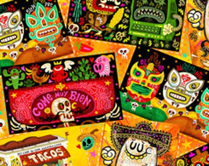 Quilting Treasures Fabric - Hot Tamale -  Tossed Foodie Patches on OrangeCotton Woven Fabric
