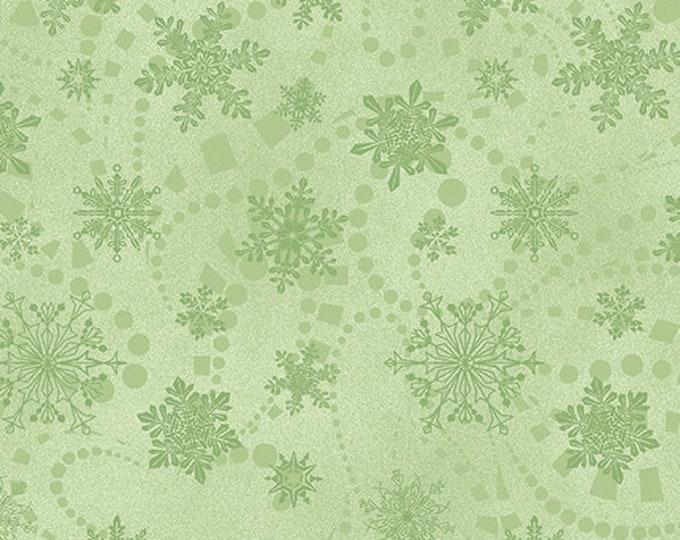 Benartex Fabrics  - Cat-i-tude Christmas by Ann Lauer -Mint Snowflake Spree Cotton Woven Fabric  6748-40