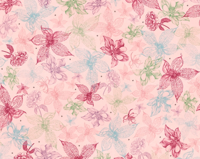 Quilting Treasures -  Midnight Garden by Mirabelle - Licensed by Santoro -   Light Pink Sketched Floral 26943P Cotton Woven Fabric