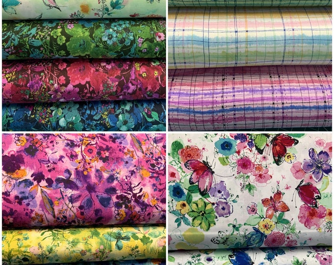 """RJR Fabrics - Bloom Bloom Butterfly - 5"""" Charms of 14 prints - Cotton Woven Fabric"""