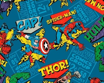 CLEARANCE -      Avengers Hero, Captain America, Spiderman, Thor, Huld on Turquoise Cotton Woven Fabric - Price is per yard