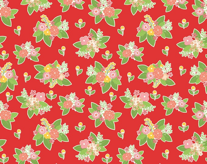 Vintage Adventure - Riley Blake -  - Floral Red c7274 - Cotton Woven Fabric