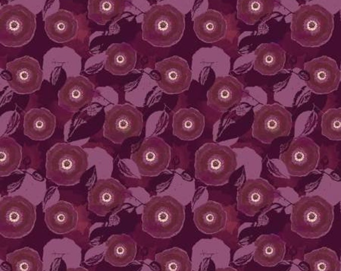 Mulberry Blooms Poppy on Purple Cotton Woven