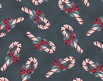 LAST PIECE - 1.5+ yards - Hoffman Cardinal Carols - Candy Canes in Charcoal - Metallic Cotton Woven Fabric
