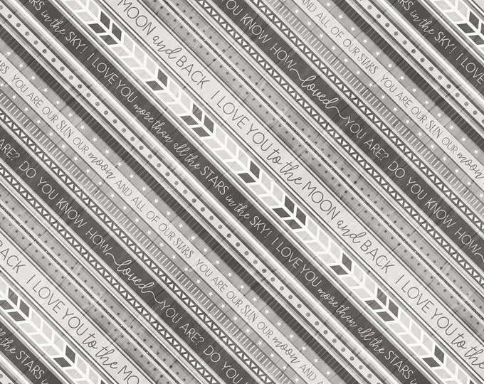 Wilmington Prints -  All Our Stars by Jennifer Pugh - Grey Ticking Stripe # 82582-919 - Cotton Woven Fabric