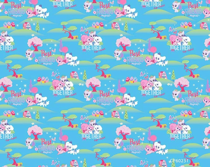 Springs Creative - Disney's Palace Pets - Best Friends are Magical on blue Cotton Woven Fabric