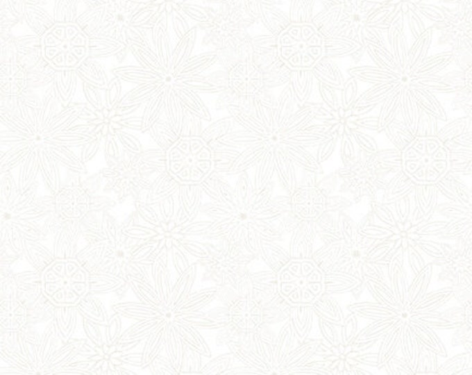 Blank Quilting - Mandala Tango - White Stacked Mandalas #9654-01W Cotton Woven Fabric