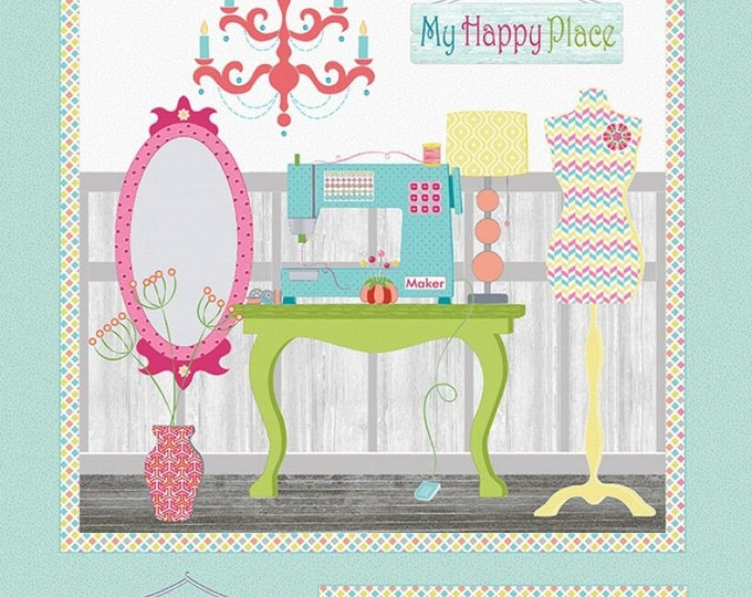 "Contempo Studio - My Happy Place by Cherry Guidry - Multi My Happy Place 24"" Panel # 7590B-99 Cotton Woven Fabrics"
