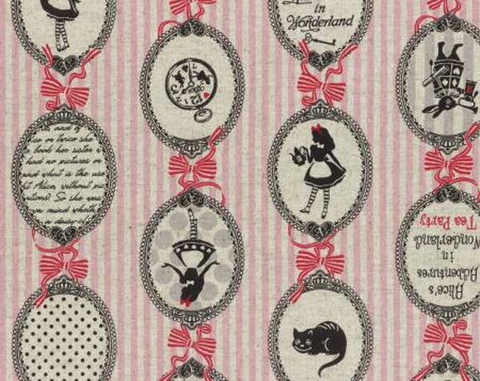 Lecien Fabrics - A Girl's Story - Alice in Wonderland 40823L-20 Alice Cameos on pink stripes