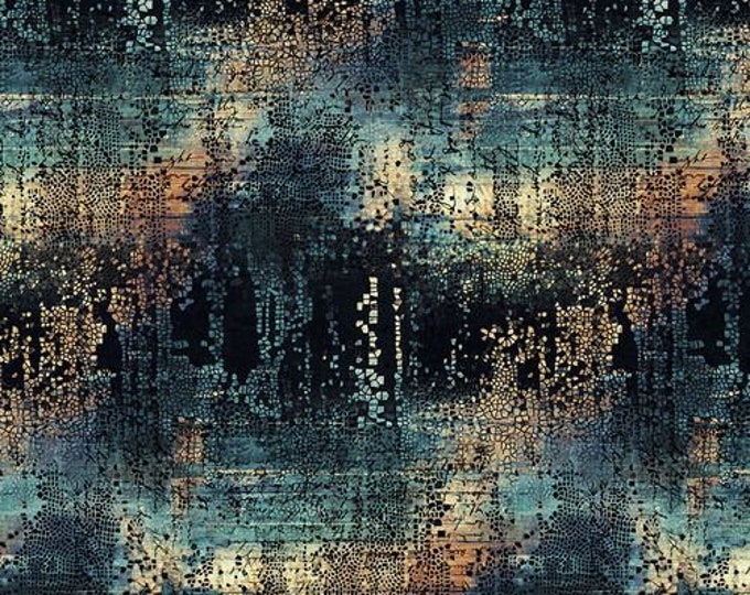 Free Spirit - Eclectic Elements - Abandoned by Tim Holtz - Fractured Mosaic - Indigo PWTH130.INDIGO - Cotton Woven Fabric