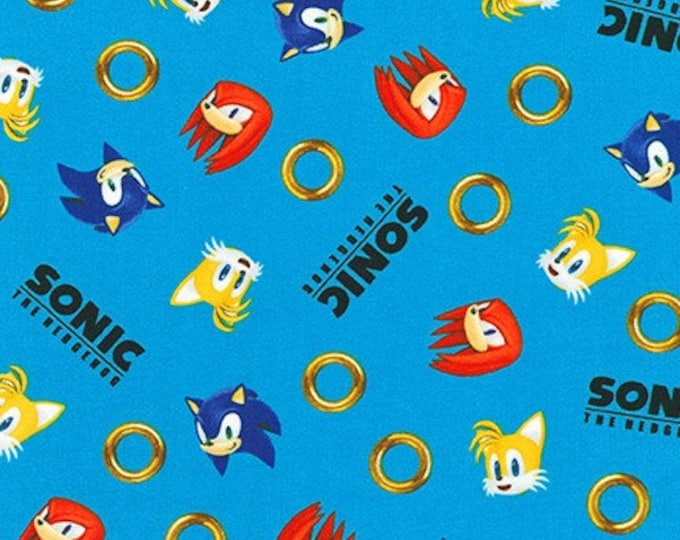 Robert Kaufman Fabrics - Licensed Sonic the Hedgehog - AXX-73949-4 BLUE - Cotton Woven Fabric