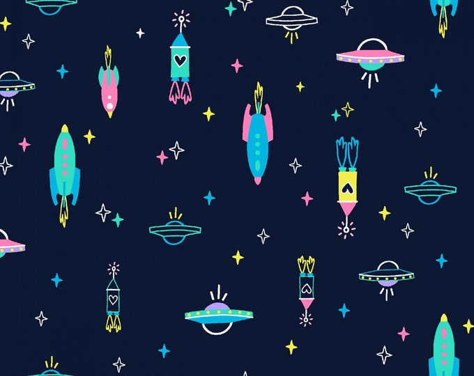 Dear Stella - Space Magic - Midnight Spaceships #ST-1278MIDN Cotton Woven Fabric
