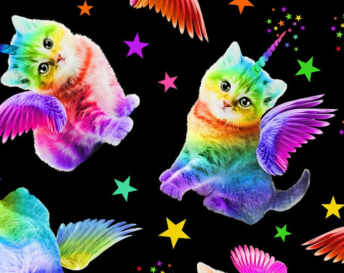 Timeless Treasures - Rainbow Unicorn Cats Cat-C7198-Black Cotton Woven Fabric