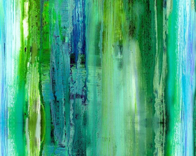 P&B Textiles - Enchanted - Green Stripe -  ENCH104-G Digitally Printed Cotton Woven Fabric