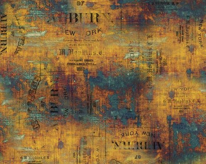 Free Spirit - Eclectic Elements - Abandoned by Tim Holtz - Urban Grunge - Patina PWTH134.PATINA - Cotton Woven Fabric