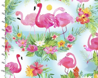 LAST PIECE - 1.5+ yards - 3 Wishes Fabric - Tropicale - Digitally Printed - Flamingo Scenic  13775 Cotton Woven Fabric
