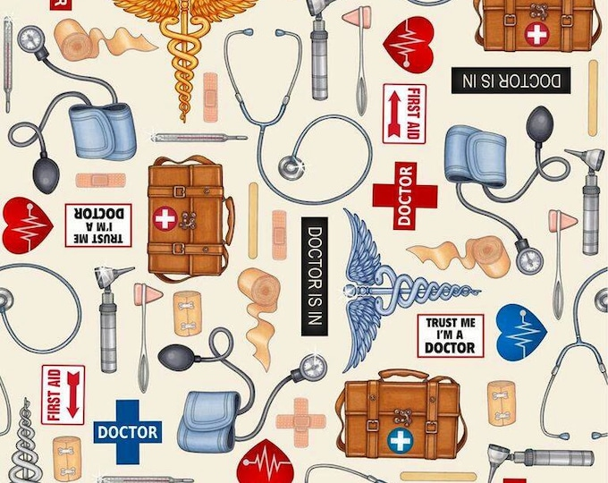 Doctor Supply on Beige, Just What the Doctor Ordered by Quilting Treasures