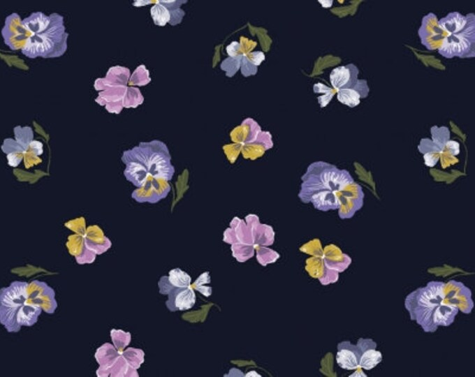 Dear Stella - Ghostwood by Rae Ritchie - Pansies on Astral Stella-SRR1334-Astral - Cotton Woven Fabric