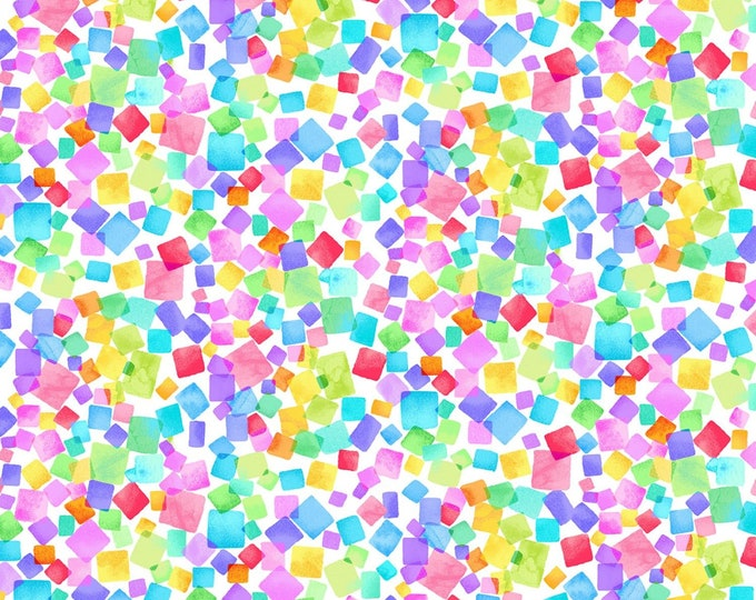 Timeless Treasures - Day Dreaming by Chong-A Hwang - Rainbow Dream Cubes White # CD8205-WHT - Cotton Woven Fabric