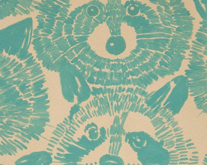 Alexander Henry - Rocky Raccoon Teal Cotton KNIT Fabric