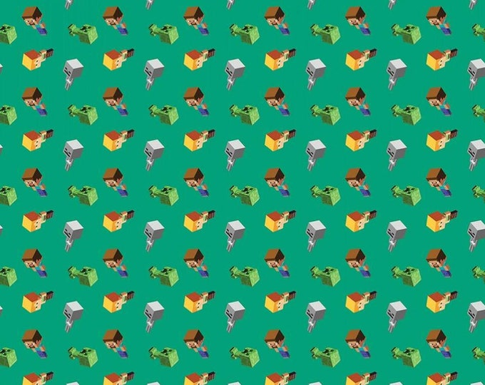 Springs Creative - LICENSED Daymobs Minecraft Green Cotton Woven Fabric