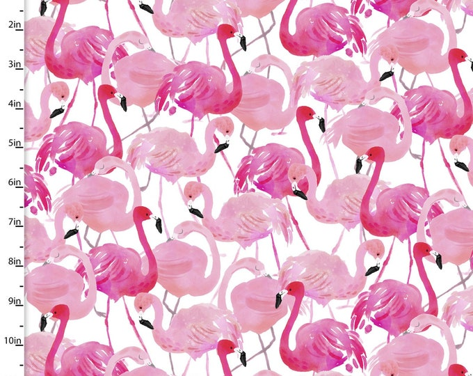 3 Wishes Fabric - Tropicale - Digitally Printed - Flamingo Flock  13782 Cotton Woven Fabric