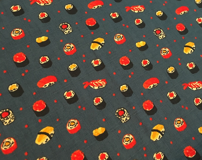 Lecien Fabric - Sushi -  on Navy 301-1105 2-d Cotton Woven Fabric