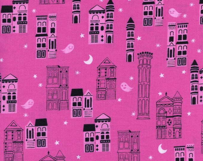 Pink Haunted City Purple Cotton Woven Fabric - Eclipse by Cotton + Steel