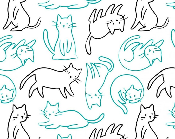 Meow by Camelot Fabrics, Bali Felines cotton woven fabric