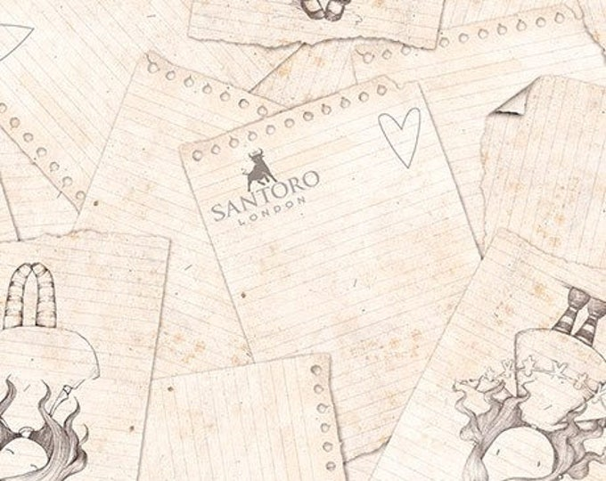 Quilting Treasures - Santoro's Gorjuss Letters from the Heart -   heart Sketches on Ecru Cotton Woven Fabric