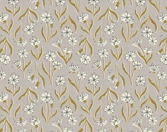Gray Dandelions Cotton Woven Fabric #27180201-1 - Petal Pushers by Elizabeth Silver for Camelot Fabrics