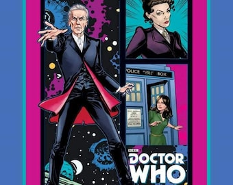 CLEARANCE -      Dr. Who, Time Travel Cotton Panel on Blue Fabric 36 inches width
