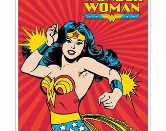 Camelot Fabrics - DC Comics -  Wonder Woman on Red Cotton Woven fabric