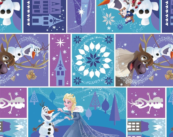 Camelot Fabric - Olaf's Frozen Adventure -Multi-Characters in Blocks - Digitally Printed Cotton Woven Fabric