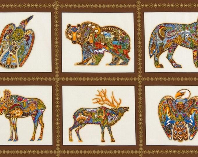 "AUAM-15820-169 EARTH 24"" Panel  Cotton Woven Fabric - Animal Spirits by Sue Coccia for Robert Kaufman Fabrics"