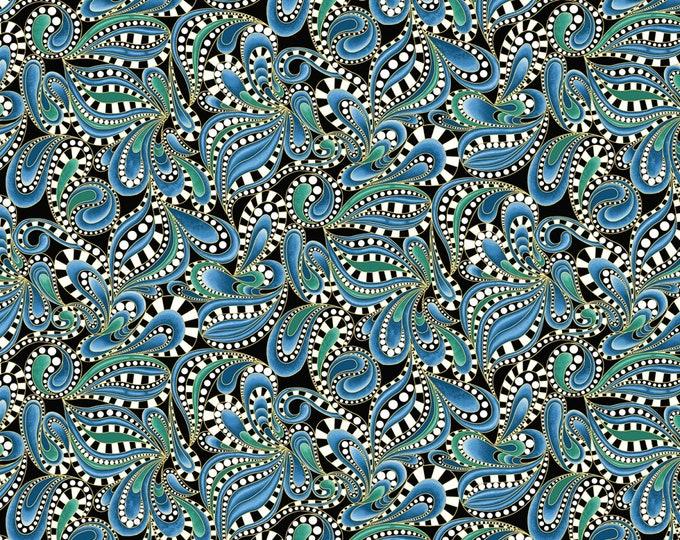 Benartex Fabrics - Cat-I-Tude 2 Purrfect Together by Ann Lauer -  Paisley Swirl - Blue - Metallic    7553MB-55 Cotton Woven Fabric