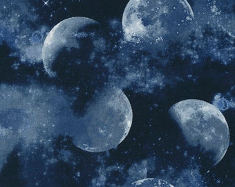 CLEARANCE -     Navy Midnight Moon cotton woven fabric - price per yard