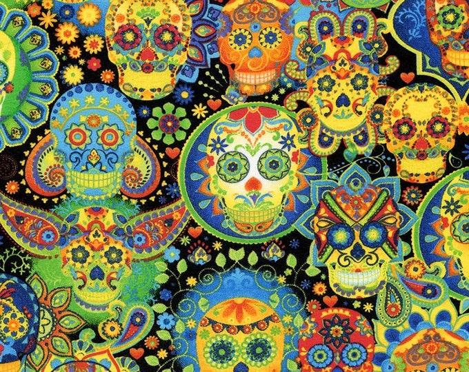 Timeless Treasures - Bright Sugar Skulls Knit WKnit-CS7378-Multi - Cotton Spandex Knit