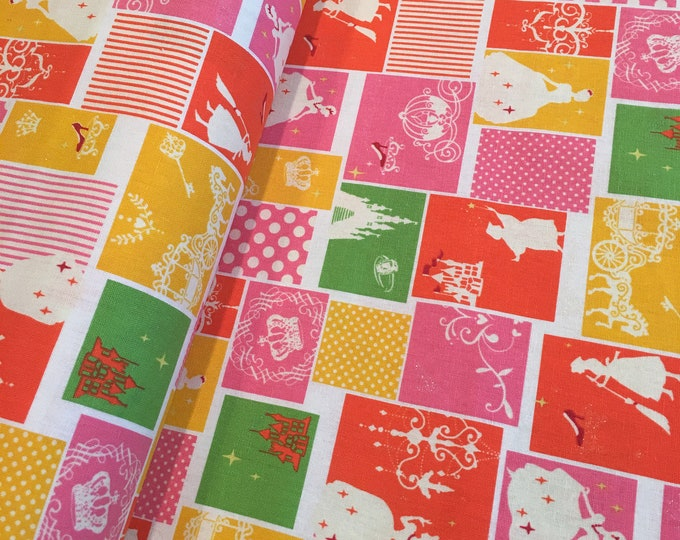 Princess Citrus Orange Blocks Lightweight Cotton Canvas - One Yard Increments