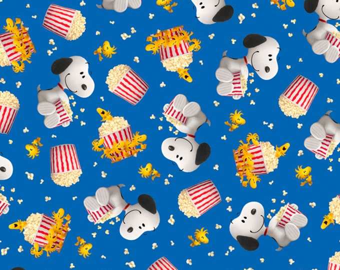 Quilting Treasures Fabrics - Licensed Popcorn & Peanuts - Snoopy - Blue - Cotton Woven Fabric