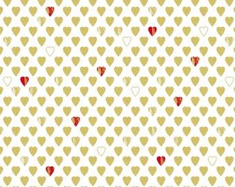 Kanvas Studios - Cherish - White Texture Hearts Cotton Woven Fabric with Metallic Accents #8964M09B