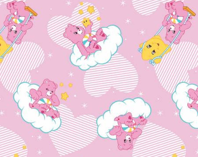 Camelot Fabrics Care Bears Hopeful Bear on Pink Cotton Woven