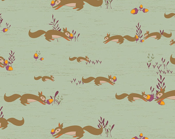CLEARANCE - Art Gallery Fabric - Autumn Vibes - Squirrels at Play -  Cotton Woven Fabric - Maureen Cracknell - Priced per Yard
