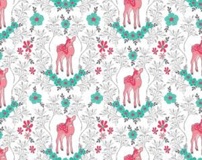 Flora and Fawn, Flora Deer on White cotton woven fabric by Riley Blake Designs