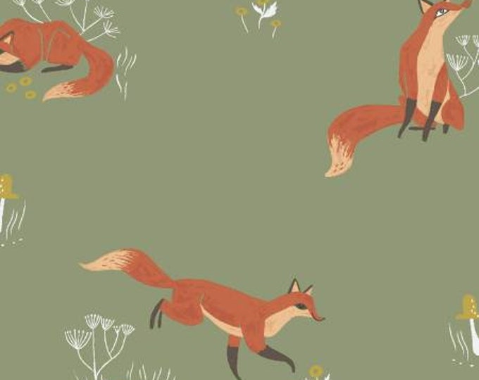 Dear Stella - Camp Wanderer - Aloe Fox -  by Rae Ritchie Cotton Woven Fabric