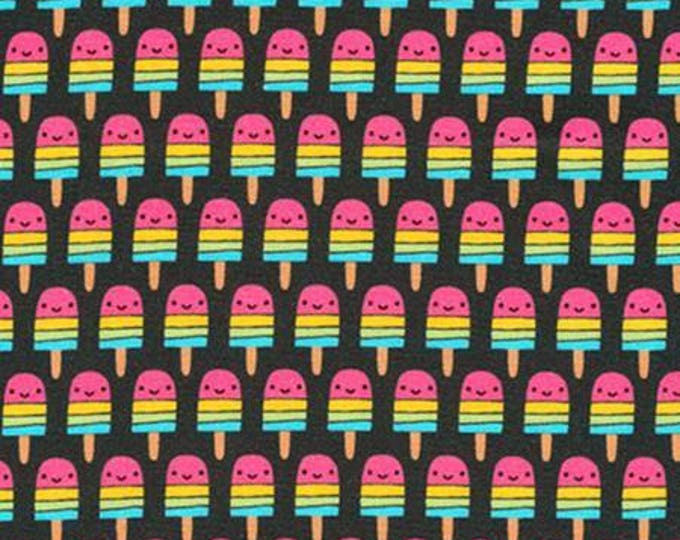 Suzy's Mini's,  Mini Popsicles on Black cotton woven fabric