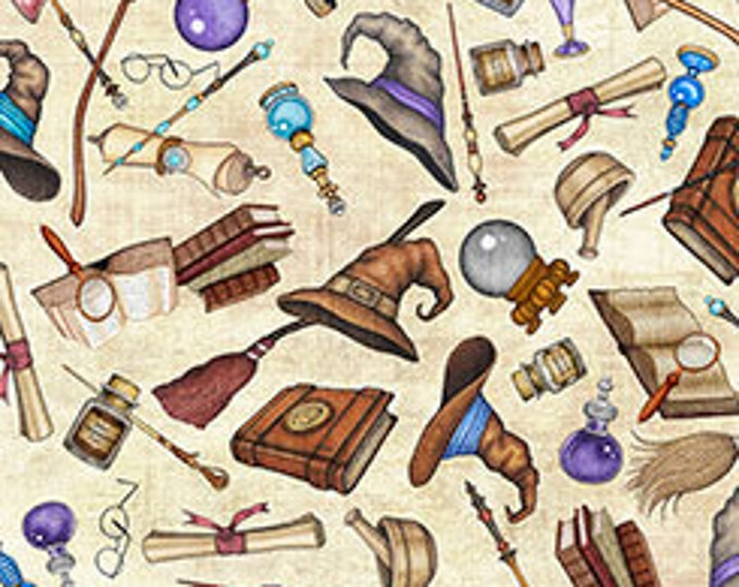 Quilting Treasures - Spellbound, Wizards Motifs on Cream cotton woven fabric